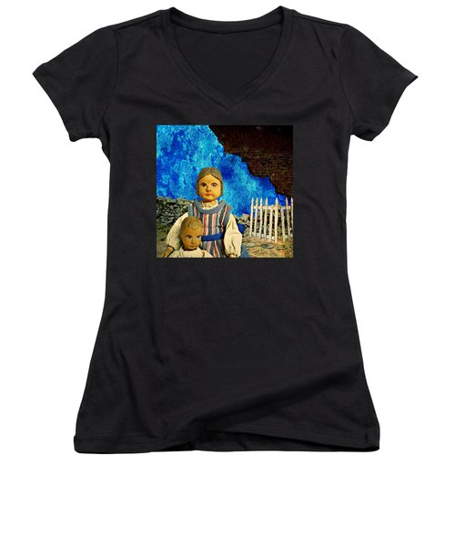 Women's V-Neck T-Shirt (Junior Cut) featuring the mixed media Family by Ally  White