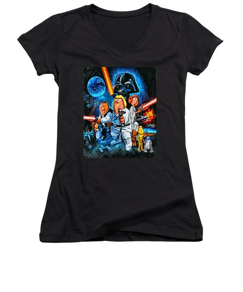 Family Guy Star Wars Women's V-Neck (Athletic Fit)