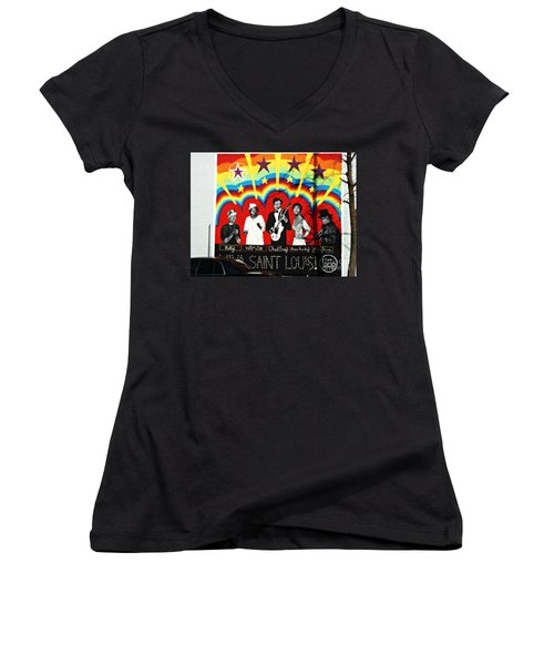 Famous St. Louisans Women's V-Neck T-Shirt (Junior Cut) by Kelly Awad