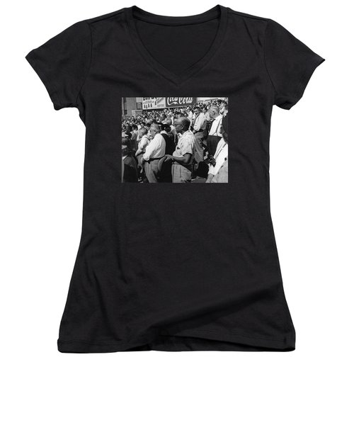 Fans At Yankee Stadium Stand For The National Anthem At The Star Women's V-Neck T-Shirt (Junior Cut) by Underwood Archives
