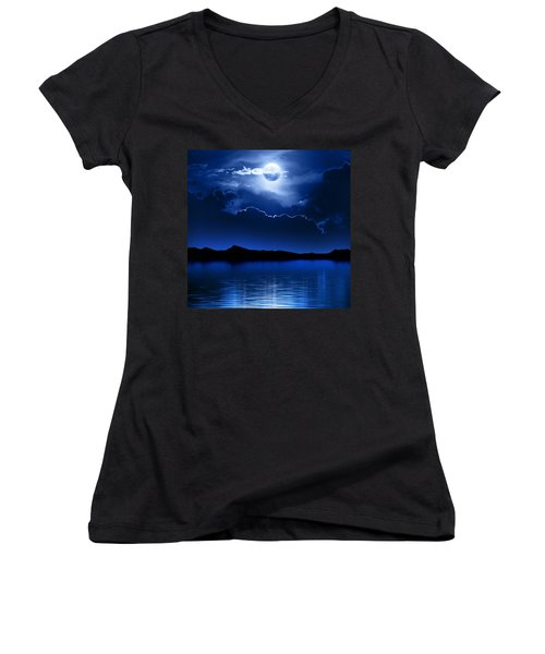 Fantasy Moon And Clouds Over Water Women's V-Neck (Athletic Fit)