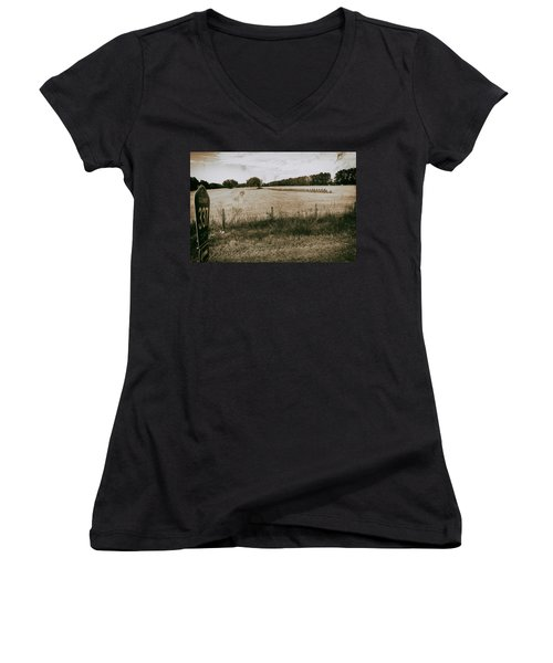 Women's V-Neck featuring the photograph Farming by Howard Salmon