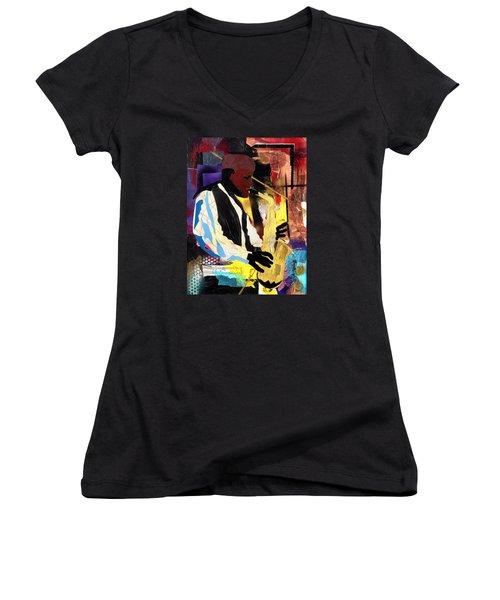 Fathead Newman Women's V-Neck T-Shirt (Junior Cut) by Everett Spruill