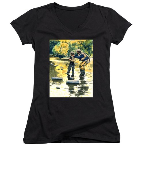 Father And Son Women's V-Neck T-Shirt (Junior Cut) by John D Benson