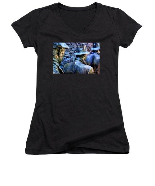 Women's V-Neck T-Shirt (Junior Cut) featuring the photograph Franklin Roosevelt   Memorial Washington Dc by John S