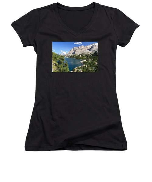 Women's V-Neck T-Shirt (Junior Cut) featuring the photograph Fedaia Pass With Lake by Antonio Scarpi