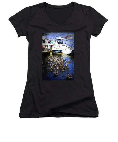Women's V-Neck T-Shirt (Junior Cut) featuring the photograph Feeding Frenzy by Laurie Perry
