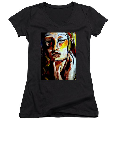 Women's V-Neck T-Shirt (Junior Cut) featuring the painting Feel by Helena Wierzbicki
