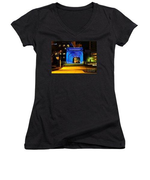 Women's V-Neck T-Shirt (Junior Cut) featuring the photograph Feeling Blue by Robert Pearson