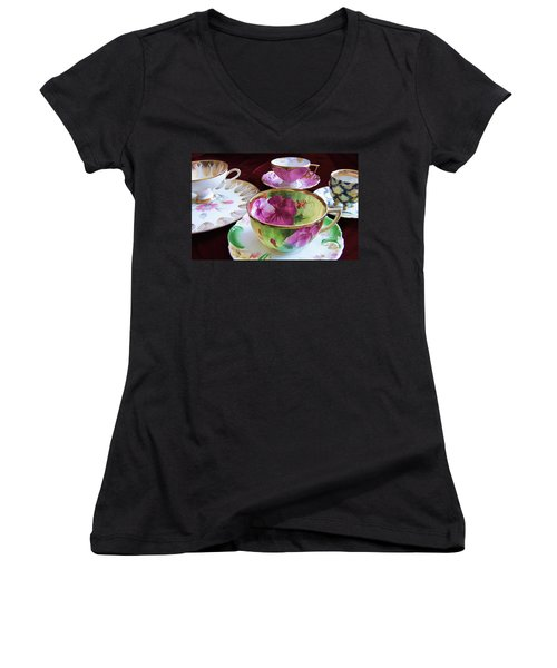 Feminine High Society Ladies Tea Party Women's V-Neck (Athletic Fit)
