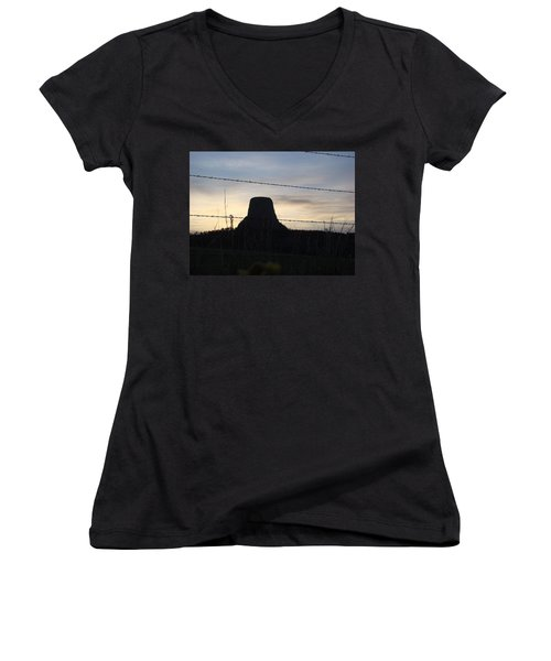 Women's V-Neck T-Shirt (Junior Cut) featuring the photograph Fencing Devil's Tower by Cathy Anderson