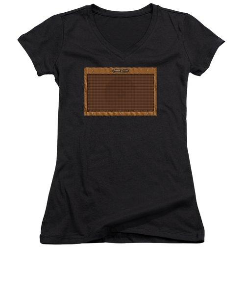 Women's V-Neck T-Shirt (Junior Cut) featuring the digital art Fender Deluxe by WB Johnston
