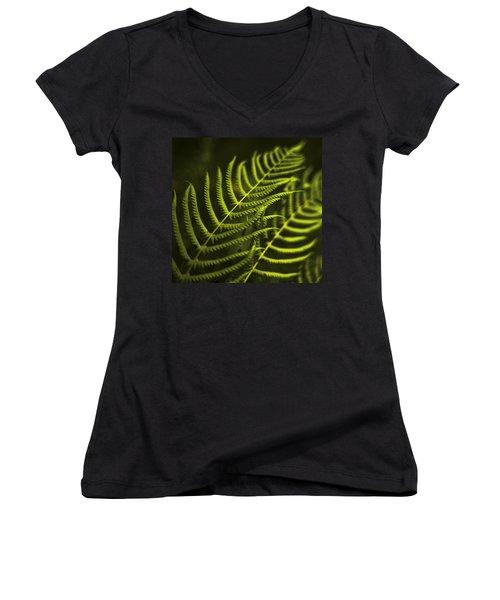 Fern Women's V-Neck T-Shirt (Junior Cut) by Bradley R Youngberg