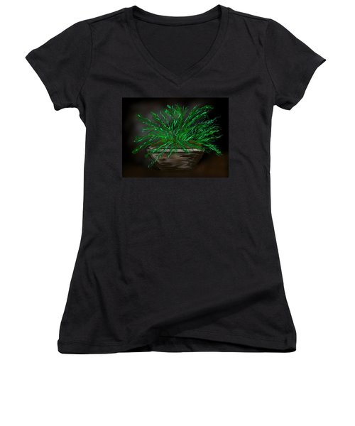 Fern Women's V-Neck T-Shirt (Junior Cut) by Christine Fournier