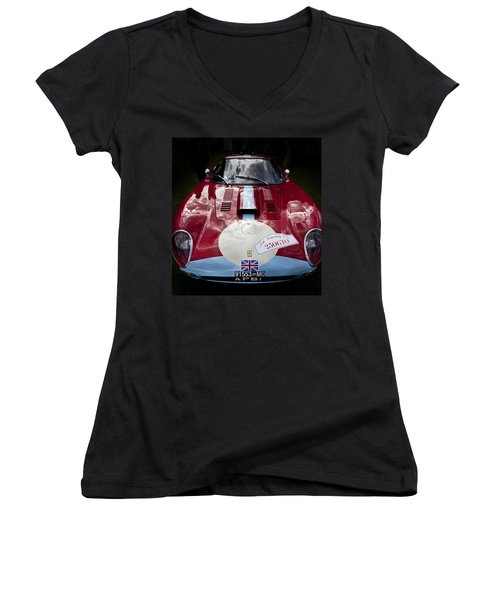 Ferrari 250 Gto Scaglietti 64 C Women's V-Neck T-Shirt (Junior Cut) by Maj Seda