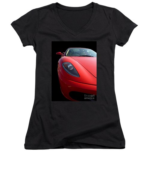 Women's V-Neck T-Shirt (Junior Cut) featuring the photograph Ferrari by Vicki Spindler