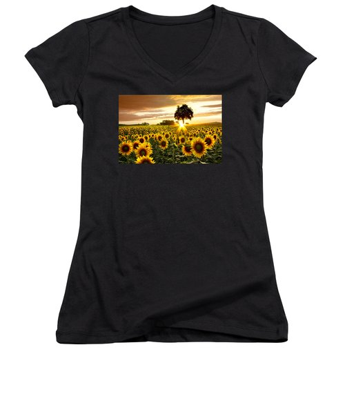 Fields Of Gold Women's V-Neck T-Shirt (Junior Cut) by Debra and Dave Vanderlaan