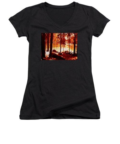 Fiery Red Landscape Women's V-Neck T-Shirt