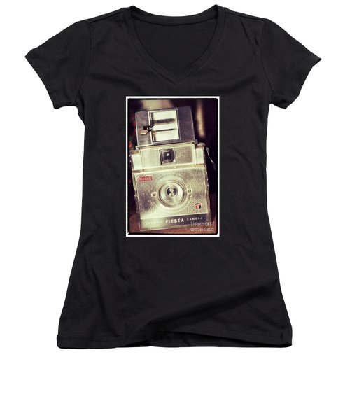 Women's V-Neck T-Shirt (Junior Cut) featuring the photograph Fiesta by Traci Cottingham