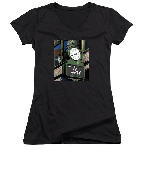 Filene's Basement Clock Women's V-Neck T-Shirt (Junior Cut) by Caroline Stella