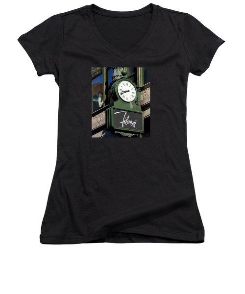 Filene's Basement Clock Women's V-Neck T-Shirt