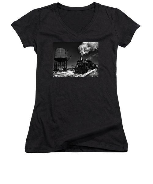 Filler Up Women's V-Neck T-Shirt (Junior Cut) by Robert McCubbin