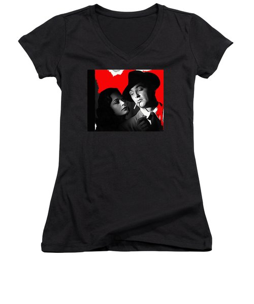 Film Noir Jane Greer Robert Mitchum Out Of The Past 1947 Rko Color Added 2012 Women's V-Neck