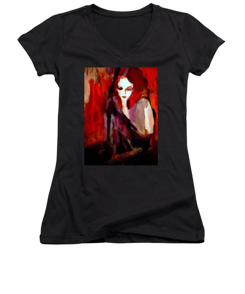 Women's V-Neck T-Shirt (Junior Cut) featuring the painting Finesse by Helena Wierzbicki