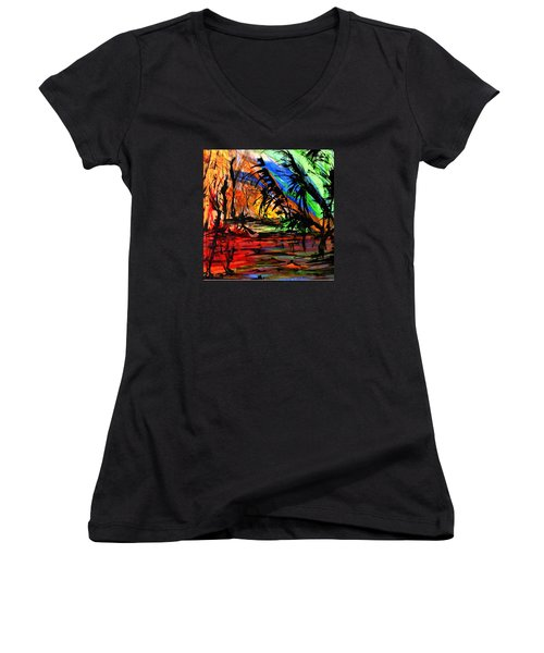 Fire And Flood Women's V-Neck T-Shirt (Junior Cut) by Helen Syron