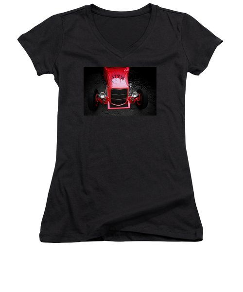 Women's V-Neck T-Shirt (Junior Cut) featuring the mixed media Fire And Water by Aaron Berg