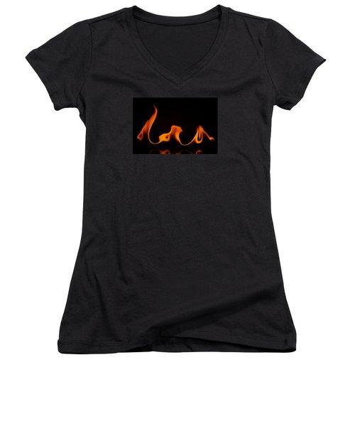 Women's V-Neck T-Shirt (Junior Cut) featuring the photograph Fire Dance by Chris Fraser