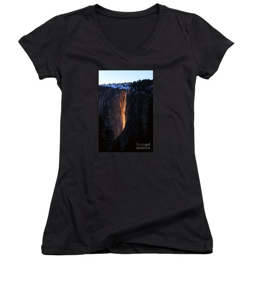 Fire Falls In Yosemite  Women's V-Neck (Athletic Fit)