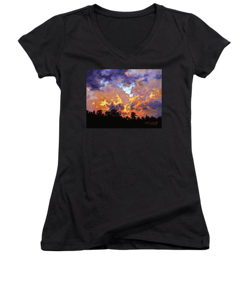 Women's V-Neck T-Shirt (Junior Cut) featuring the painting Fire In The Sky by Craig T Burgwardt