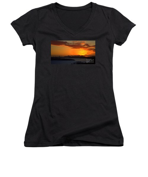 Women's V-Neck T-Shirt (Junior Cut) featuring the photograph Fire In The Sky by Miroslava Jurcik