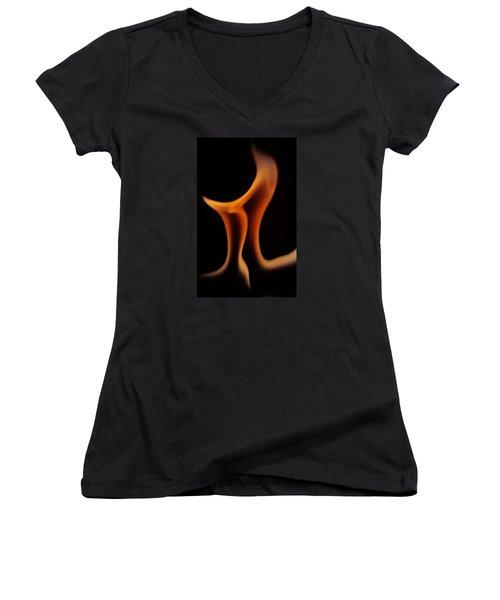 Women's V-Neck T-Shirt (Junior Cut) featuring the photograph Fire Pi by Chris Fraser