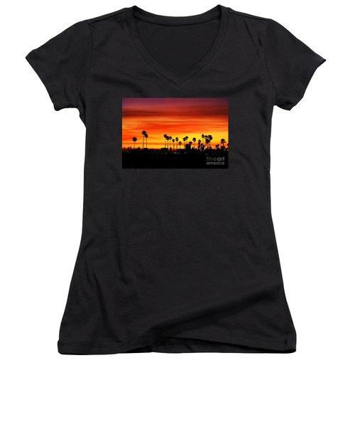 Women's V-Neck T-Shirt (Junior Cut) featuring the photograph Fire Sunset In Long Beach by Mariola Bitner