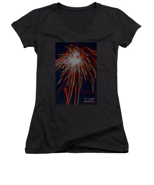 Women's V-Neck featuring the photograph Fire Works by Mae Wertz