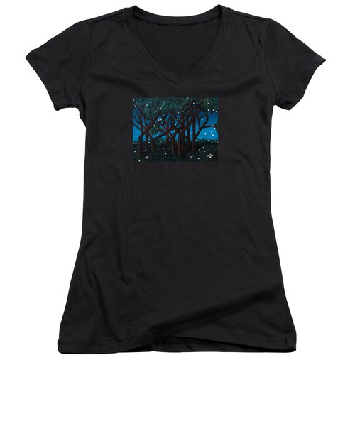 Women's V-Neck T-Shirt (Junior Cut) featuring the painting Fireflies by Cheryl Bailey