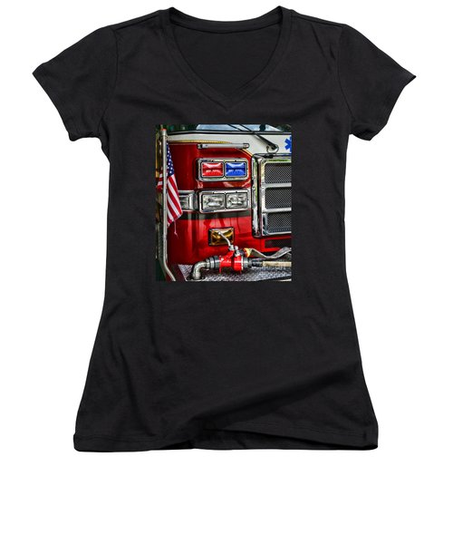 Fireman - Fire Engine Women's V-Neck T-Shirt
