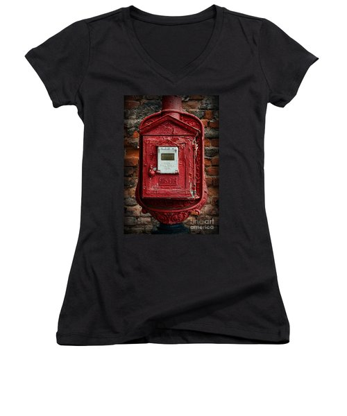 Fireman - The Fire Alarm Box Women's V-Neck T-Shirt
