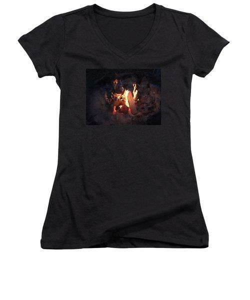 Fireside Seat Women's V-Neck T-Shirt (Junior Cut) by Michael Porchik