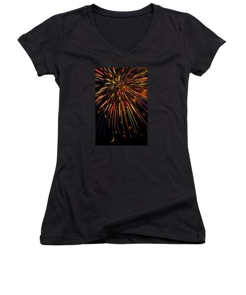 Firework Indian Headdress Women's V-Neck T-Shirt (Junior Cut) by Darryl Dalton