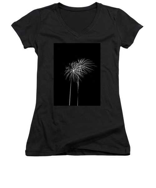 Firework Palm Trees Women's V-Neck T-Shirt (Junior Cut) by Darryl Dalton