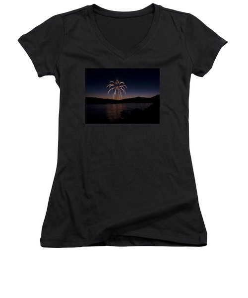 Women's V-Neck T-Shirt (Junior Cut) featuring the photograph Fireworks 11 by Sonya Lang