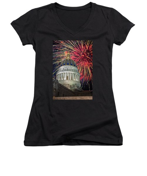 Fireworks At Wv Capitol Women's V-Neck T-Shirt (Junior Cut) by Mary Almond