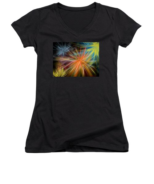 Women's V-Neck T-Shirt (Junior Cut) featuring the digital art Fireworks by Christine Fournier