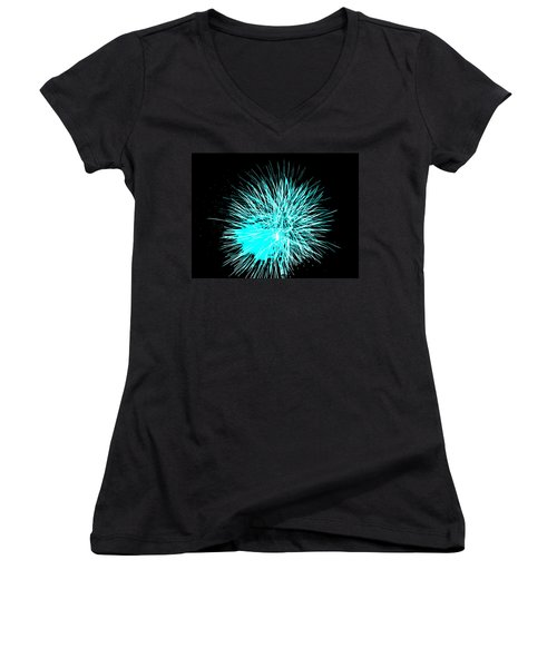Women's V-Neck T-Shirt (Junior Cut) featuring the photograph Fireworks In Blue by Michael Porchik