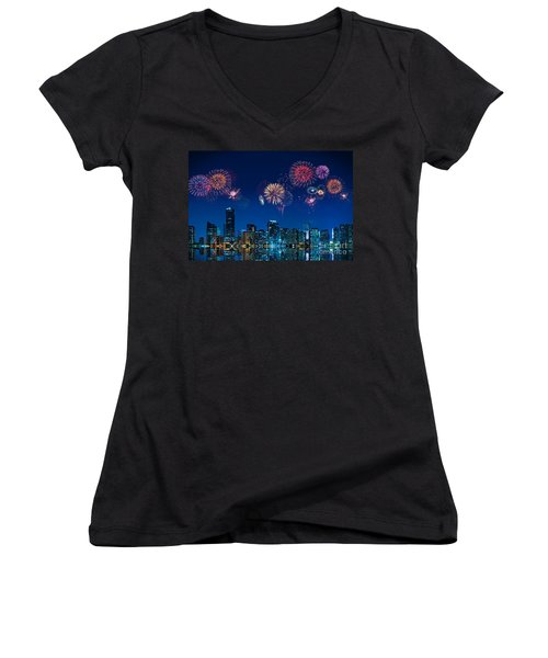 Women's V-Neck T-Shirt (Junior Cut) featuring the photograph Fireworks In Miami by Carsten Reisinger