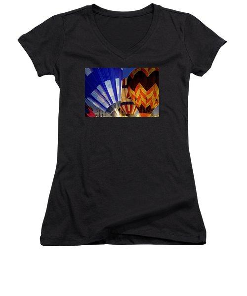 Women's V-Neck T-Shirt (Junior Cut) featuring the photograph Firing Up by Kathy Bassett
