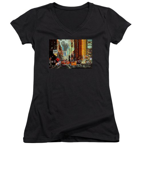 First Avenue - New York Ny Women's V-Neck (Athletic Fit)